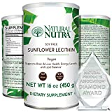 Natural Nutra Sunflower Lecithin Powder, Soy Free with Inositol, Supports Congnitive, Improves Liver Health, Relieves Stress, Helps Lower Cholesterol Omega 3-6 and Choline, 16 oz Vegan Supplement