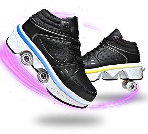 SHHAN LED Luces Zapatos con Doble Ruedas Los Patines De Hielo Polea Zapatos Multifuncional Deformación Aire Libre Y Deporte Patines En Línea