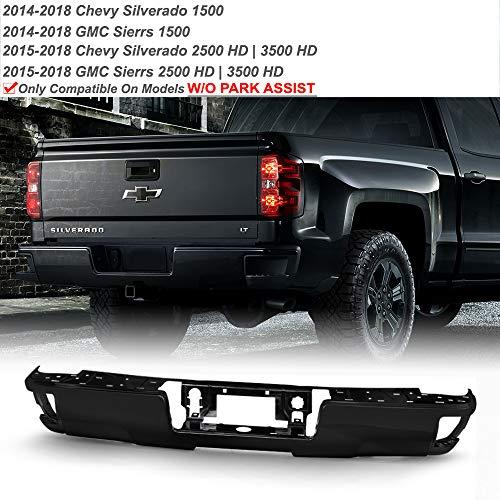 ACANII - For 2014-2018 Chevy Silverado/GMC Sierra 1500 Black Rear Step Bumper Face Bar W/O Sensor Holes w/Corner Holds