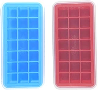 Mirenlife Food Grade Silicone Ice Cube Tray with Lid, FDA Certified Silicone Ice Cube Tray, Pinch Test Passed, 21 Cubes, Set of 2, Blue and Red