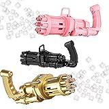 nTa Pistola de Burbujas Adultos,máquina de Burbujas portátil,Pistola de Burbujas Gatling 2021eléctrica de Ocho Orificios automática Fiestas Exteriores Parques y Playas-Rosa