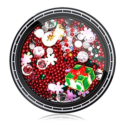 IOOOFU 1 Box Christmas Nail Rhinestones Charms Metal Studs DIY Nail Art Decor - 6#
