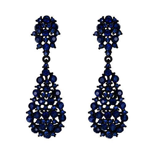 EVER FAITH Damen Ohrringe Voll Kristall Art Deco Vintage Stil Ohrhänger für Hochzeit Party Navy Blau Schwarz-Ton