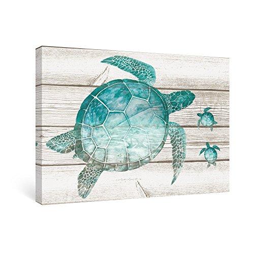 SUMGAR Wall Art for Bathroom Green Sea Turtle Wall Decor Vintage Paintings on Canvas Framed Prints