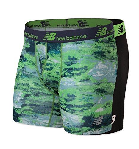 New Balance Mens Dry Fresh Boxer Brief 2-Pack, Black/Energy Lime Print, X-Large (40-42')