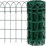 Amagabeli Gartenzaun Bordüre 0.65Mx25M Dekorative Verzinktem Draht und RAL6005 PVCbeschichteter Gartenzaun Metall Zaunelementen Gartenzaun Dekorative Zaun Komplettset Zaun Metall Holz Draht Zäune HC02