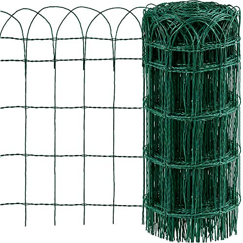 Amagabeli 0.65M x 25M Clôture de Jardin Bordure de Jardin Décorative Pliable Clôture Rouleau en métal RAL6005 Metallique Le Motif Protection pour Plantes Anti-Rouille Vert Fil de Métal Pelouse HC02