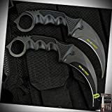 2pc Combat Karambit Stainless Steel Blade Knife Survival Hunting Fixed Blade W/Sheath + Free eBook by Survival Steel