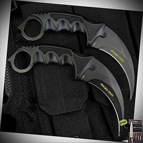 2pc Fixed Blade Knives Karambit Black Stainless Steel Blade Composite Handle Claw Survival Outdoor Curved Hunting Neck Knife W/Sheath + Free eBook