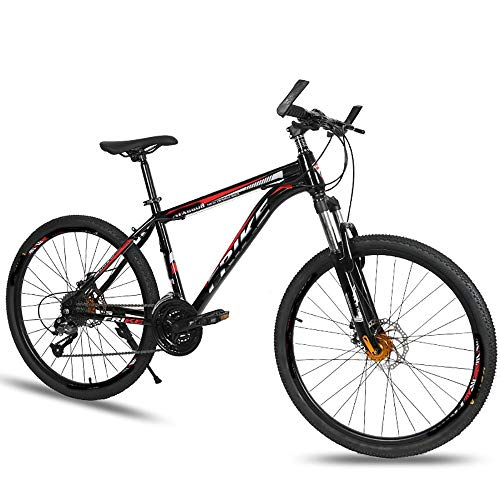 Mountain Bikes Adult Shock-Absorbing Disc Brakes Variable Speed Bikes High-Carbon Steel Bikes Anti-Skid and Anti-Rust, Suitable for Roads, Wastelands, and Cities (Color : Black red, Size : 26 inch)