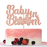 Baby in Bloom Rose Gold Glitter Cake Topper, Pregnancy Announcement Cake Decorations, Spring Baby Shower Cake Toppers, Floral Theme Baby Shower Party Decoration Supplies.