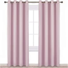 NICETOWN Blackout Curtains for Girls Room - Thermal Insulated Solid Grommet Room Darkening Curtains/Panels/Drape for Bedroom (Lavender Pink=Baby Pink, 1 Pair, 52 by 84-Inch)