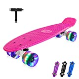 BELEEV Skateboard 55cm/22inch para Principiantes Adultos y Niños, Mini Cruiser Retro Skateboard con All-in-One Skate T-Tool, Skateboard con 4 LED PU Ruedas(Rosa)