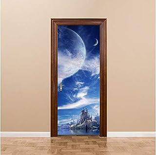 Autocollants de porte Stickers muraux fantaisie planète motif pour enfants chambre porte accessoires de décoration de la m...