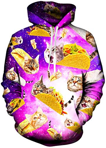 Guys Cool Taco Cat Fuzzy Hoodys for Women Mens Yellow Purple Animal Graphics Galaxy Fashion Lightweight Crewneck Hoodies Pullover Sweater Shirts with Pockets Back to School Jackets 90s Clothes Small