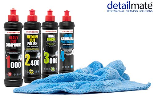 detailmate Auto Politur Set - Menzerna Autopolitur Super Heavy Cut Compund HC1000 + Medium Cut 2400 + Final Finish SF3000 + Liquid Carnauba Protection - 250ml + Flauschiges Mikrofaser Poliertuch