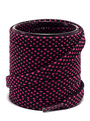 "Shoemate Stylish Dotted Thick Flat 5/16"" Shoe Laces for Sneakers, Athletic Shoes and Running Shoes with 4 Shoestrings Aglets, Black/Hot Pink, 45""(114cm) 7-HeiMeihong"