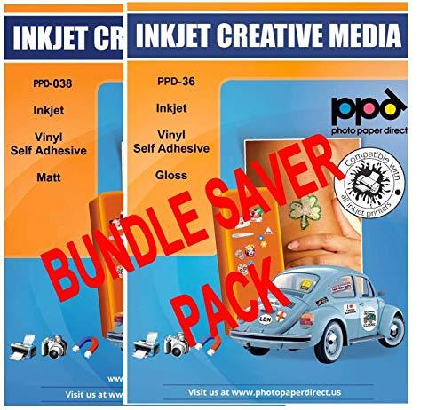 "PPD Inkjet Bundle Matte Creative Vinyl Stickers LTR 8.5x11"" 4.7mil x 20 Sheets + Glossy Creative Vinyl Stickers LTR 8.5X11"" x 20 Sheets"