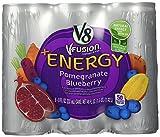 V8 V-Fusion Vegetable & Fruit +Energy Pomegranate Blueberry Flavored Beverage Blend - 6 CT (Total of 6 Cans)