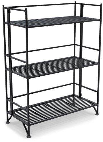 Convenience Concepts Xtra Storage 3 Tier Wide Folding Metal Shelf, Black