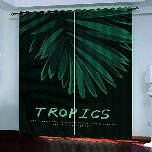 DRFQSK Cortinas Termicas Aislantes Frio Y Calor, Cortinas Opacas para Salon 3D Hojas Verdes Tropicales Cortinas para Ventanas Dormitorio con Ojales, 2 Piezas 140 X 260 Cm(An X Al)