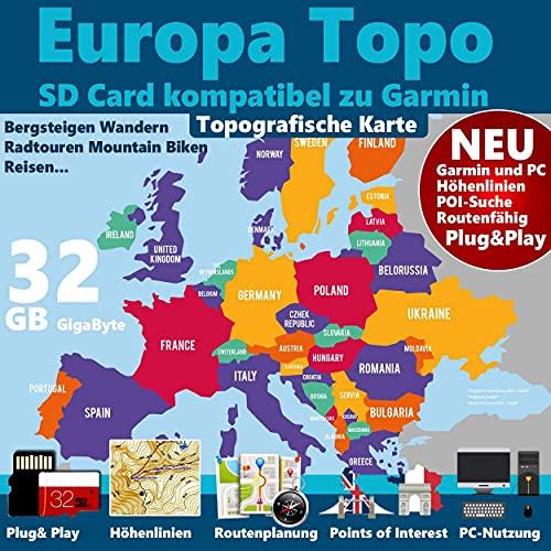 Europa Topo Karte für Garmin Geräte Edge 1000, 1030, Explore, Touring, Touring Plus