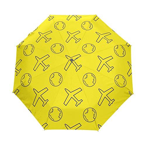 SUHETI Regenschirm Taschenschirm,Nahtloses Muster Flugzeug Globus Vektor Illusration,Auf Zu Automatik,windsicher,stabil