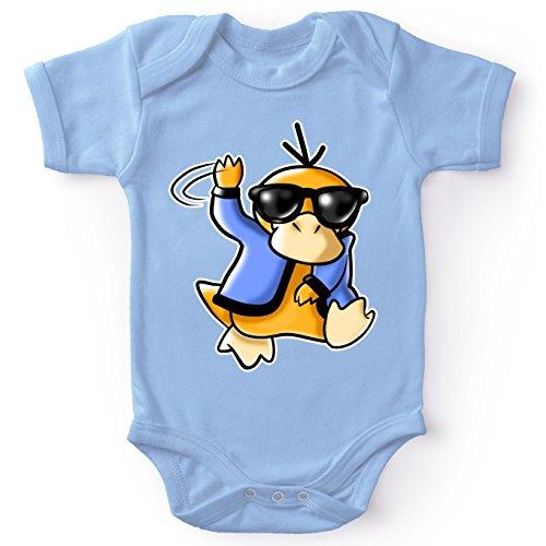 OKIWOKI Pokémon Lustiges Blau Kurzärmeliger Baby-Bodysuit (Jungen) - Enton (Pokémon Parodie signiert Hochwertiges Baby-Bodysuit in Größe 56 - Ref : 599)