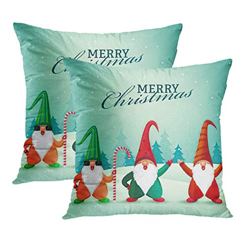Y·JIANG Gnome Cushion Cover, Merry Christmas Font with Cartoon Gnomes on Winter Landscape Soft Velvet Square Cushion Case Couch Cover Pillowcase for Sofa Chair Bedroom, 20 X 20 Inch, Set of 2