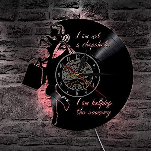 fdgdfgd Disco de CD clásico No Soy un Adicto a Las Compras Estoy ayudando al económico Reloj de Pared con Discos de Vinilo con luz LED   Elementos de Moda decoración del hogar.