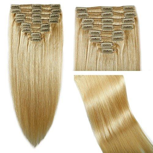 50,8 cm trame blond décoloré véritable double épaisseur de clip dans 100% cheveux remy extensions de cheveux humains 5 A résistant à la chaleur 8 pièces 18 pinces