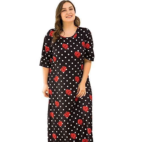 STJDM Bata de Noche,Ropa de hogar para Mujer Vestido de Ropa de hogar Tallas Grandes Pajiamas Florales Ropa de Dormir de Manga Corta 2021 Nuevo 4XL Tallas Grandes Sueltas 4XL Negro