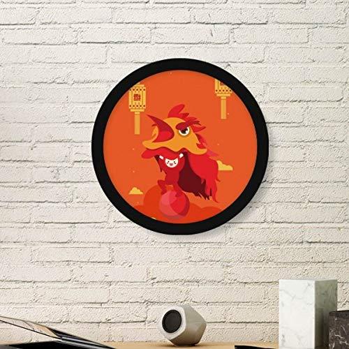 DIYthinker Pintura Red Lantern Danza del león de China Arte Ciudad de Fotos de imágenes de Madera Marco Redondo Pared del hogar del Regalo de la decoración Grande Negro
