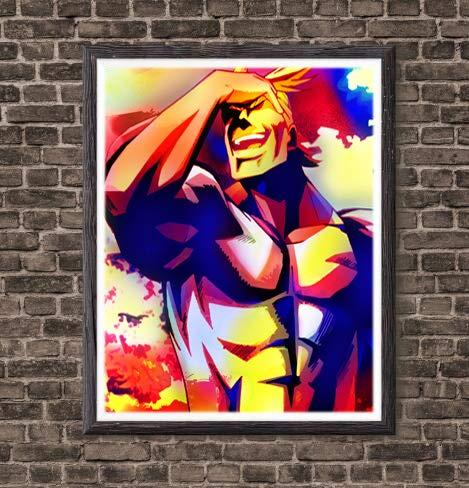 OFA Super Hero All-Might My Hero Academia Tela original de anime Póster de pared para decoración del hogar, 20,3 x 25,4 cm, sin marco