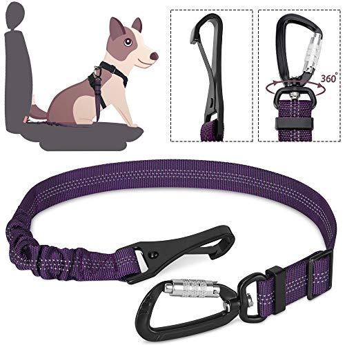 Lukovee Hunde-Sicherheits-Gurt Hunde Sicherheitsgurt für Alle Hunderassen und Katzen fürs Auto Einstellbar Sicherheit Karabiner und Elastischer Ruckdämpfung