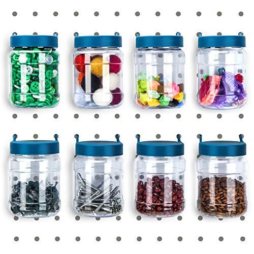 Pegboard Bins Peg Organizer Storage Jars Pegboard Accessories Crush and Impact Resistant Plastic Pegboard Jars for Garage Storage, Organization, Craft Sewing (8)