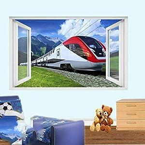 Mzoyd 3D Wall Stickers Wallpaper Window Railway Express High Speed Rail Removable Wall Decal Vinyl Wall Art Home & Kitchen Nursery Wall Décor