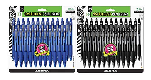 Zebra Pens Combo Pack Z-Grip Retractable ballpoint pens Medium point 1.0 mm (48 Pack)