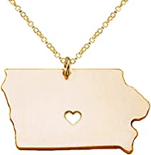 Meiligo 18K Gold Silver Country Map Charm Pendant Iowa State Map Necklace Jewelry