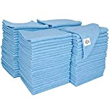 S&T INC. 958201 Microfiber Cleaning Cloths, Reusable and Lint-Free Towels for Home, Kitchen and Auto, 100 Pack, Light Blue