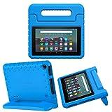 MoKo Funda Compatible con Kindle Fire 7 Tablet (9th Generation - 2019 Release), Ligero y Degado Protector a Prueba de Los Golpes con Asa Portátil para Niña Cover Case - Azul