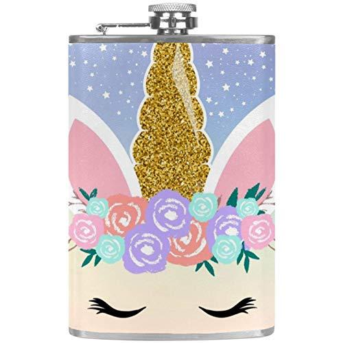 Petacas de Alcohol Unicornio mágico Petaca 227ml Acero Inoxidable para Whisky Vodka Alcohol líquido con embudos para Hombres y Mujeres 9.2x15cm