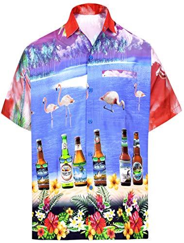 LA LEELA Casual Hawaiana Camisa para Hombre Señores Manga C