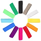 Mallofusa 12 PCS Cotton Sports Basketball Headband/Sweatband Head Sweat Band/Brace