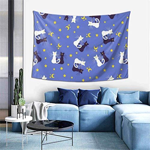 N/A Tapiz hippie, tapiz blanco y negro, diseño de gato, luna y estrella, decoración de dormitorio indio, tapiz psicodélico para colgar en la pared, decorativo étnico, 101,6 x 152,4 cm
