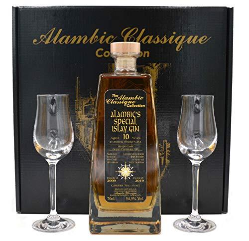 Rarität: Alambic's Special Islay Gin Jahrgang 2009-0,7l gereift im Ardbeg-Fass - Decanterflasche mit 2 Gläsern
