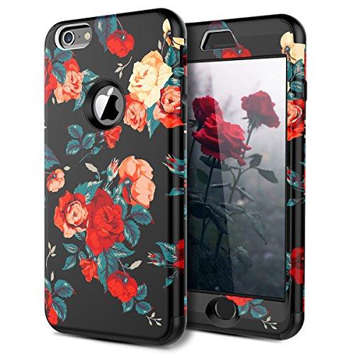 WE LOVE CASE iPhone 6 Cover Rose Fiori 360-Grad all Inclusive Custodia Rosso Cassa PC Plastica Silicone Protezione Anti Graffio Caso per Apple iPhone 6 / 6s 4,7'