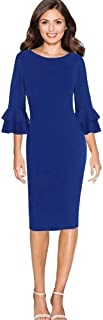 FRana Women Bodycon 3/4 Bell Sleeve Sheath O-Neck Pencil Party Work Knee-Length Dress
