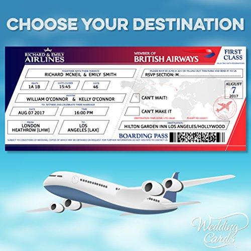 10 x personalisierbar Flight Hochzeit Geburtstag Ticket Einladungen Bordkarte Tickets lädt Karten Einladung Teams Match Himmel