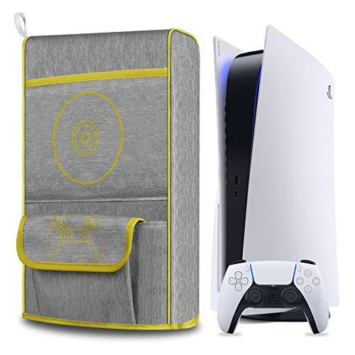 Anti Staub Abdeckung fur PS5Schutzhulle fur Sony Playstation 5Anti Scratch WasserdichtUnterstutzung fur PS5 Controller und 12 Game Discs Gelb